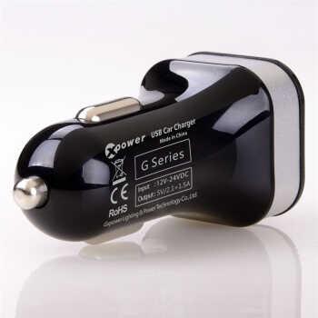6a 双usb接口汽车充/车载充电器 苹果/三星/ipad手机快速充电 g5黑色