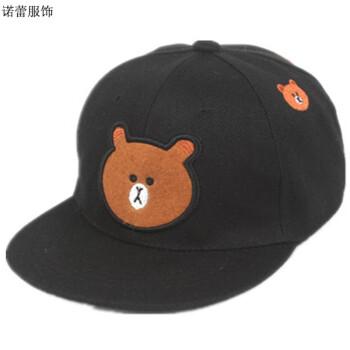 可爱小熊卡通亲子帽子 男女孩大人儿童棒球帽 时尚平沿帽 韩版鸭舌帽