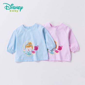 迪士尼(Disney)儿童罩衣新品后开扣卡通宝宝防水长袖罩衣吃饭衣183P806 浅粉 M(18个月-3岁)