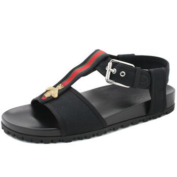 古驰GUCCI男士蜜蜂 刺绣黑色凉鞋休闲 鞋 4110