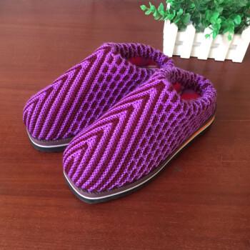 纯手工编织毛线棉鞋拖鞋保暖手工毛线鞋冬季男女居家fjm 2 鞋码偏小
