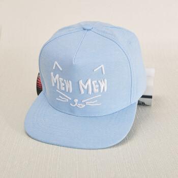 帽子女夏天潮韩国女字母帽子 可爱猫咪图案街舞情侣嘻哈帽 mew蓝色jx