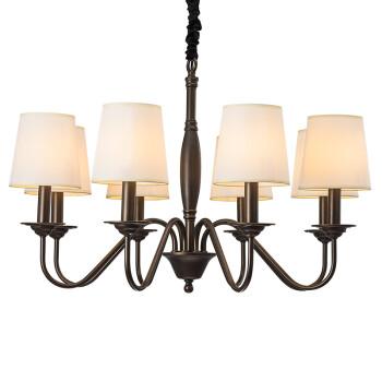 雷士照明(NVC)吊灯美式客厅灯餐厅灯卧室灯具 现代轻奢北欧田园复古风格八头