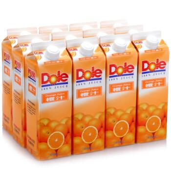 都乐(Dole)100%橙汁 1L*12盒 整箱