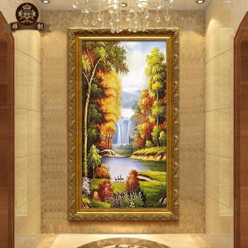 欧式玄关过道竖版纯手绘油画风景有框画客厅装饰画酒店壁画家装走廊挂