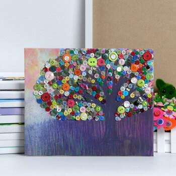 节自制儿童纽扣画diy手工制作材料包小学生粘贴画幼儿园创意 油画树