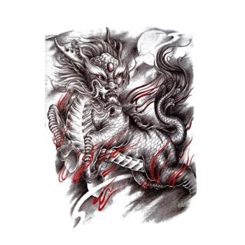 玛丽弟弟纹身贴纸男防水传统火焰麒麟大图半臂纹身贴手臂肩部麒麟纹身图片