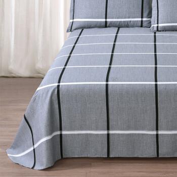 雅鹿·自由自在 全棉床单单件 纯棉被单床罩单件 单人全棉学生宿舍床垫保护罩 1.2米床 160*230cm 巴洛克灰