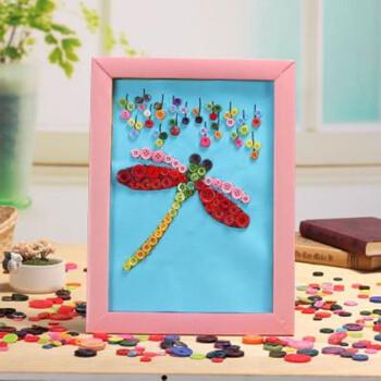 儿童创意纽扣画 手工材料包 益智拼贴玩具diy扣子粘贴画 蜻蜓