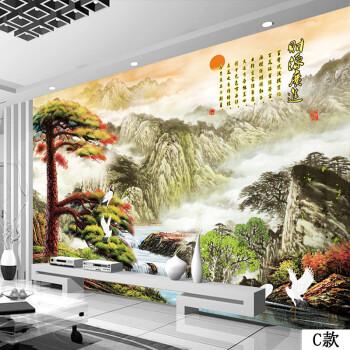枫彩中式3d立体山水画风景仙鹤延年墙纸壁画客厅沙发电视背景墙壁纸