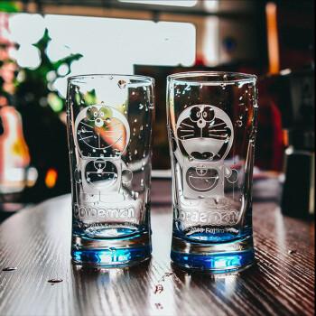 创意哆啦a梦机器猫玻璃杯 投影果汁杯饮料杯 情侣喝水