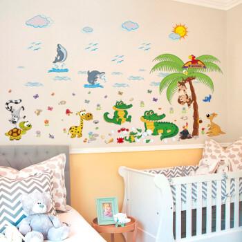 米基卡罗可移除 沙滩动物聚会 幼儿园班级布置儿童房装饰墙贴画 自粘
