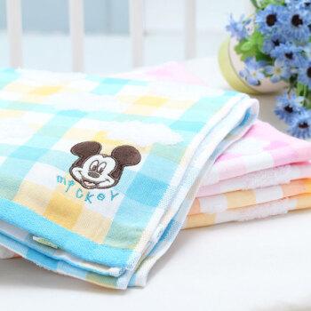 迪士尼 宝宝洗浴用品 宝宝洗澡纱布提花浴巾 蓝色图片