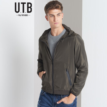 森马旗下utb夹克男2016秋季新款男装弹力织带袖口光版甩夹克帽外套