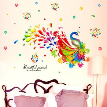 佰御祥 可爱孔雀墙贴卧室墙画贴纸儿童房墙壁贴画幼儿园教室布置创意
