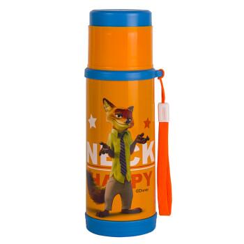迪士尼不锈钢子弹头保温杯提绳杯子疯狂动物城系列水杯 3513狐狸橙350