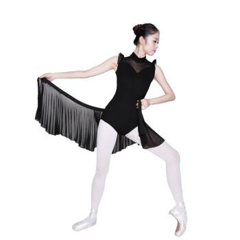 红舞鞋丝光棉魔术套装带纱裙无袖芭蕾舞练功体操服5604 黑色 170_ 6折
