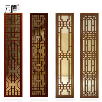 云樽 整体电视瓷砖背景墙 客厅实木边框造型线条搭配现代中式 微晶石