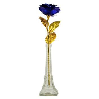 慈缘正堂24k金箔玫瑰花金玫瑰花创意生日毕业教师节礼物送女友老婆 蓝色玫瑰+埃菲尔瓶