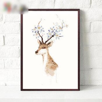 人物风景填色手绘装饰画家居家装油画简约现代实木内框植物花卉sn1 鹿