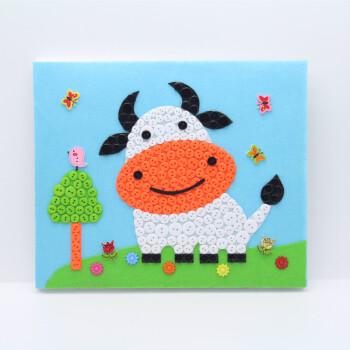 新年少儿小学生手工作品纽扣画diy材料包儿童子制作幼儿园粘贴 牛