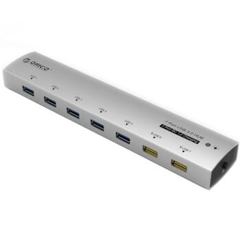 奥睿科(ORICO)AS7C2 全铝USB3.0扩展7口HUB集线器 2口2.1A充电器 银色