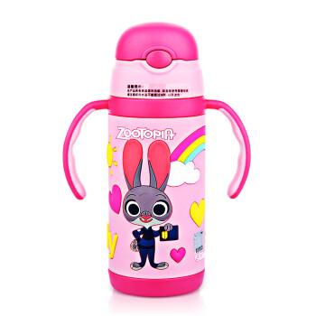 迪士尼手柄背带两用吸管杯疯狂动物城系列吸管保温杯 3506兔子粉350ml
