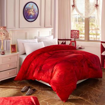 敲罗莱喜家纺 全棉活性大版花单件被单 纯棉被套 AB版 双人被罩2*2.3 满江红 被套200*230带2枕套