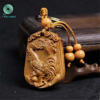 银想玉 桃木雕刻十二生肖挂件钥匙扣木质吊坠链鼠牛虎兔龙蛇马羊猴图片