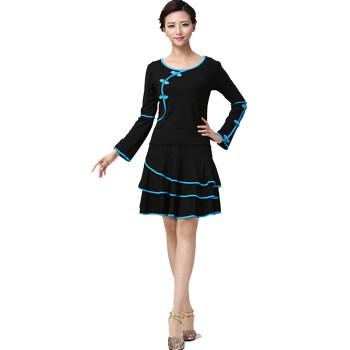 广场舞服装套装长袖中老年秋冬舞蹈服民族跳舞练习服 黑 l图片