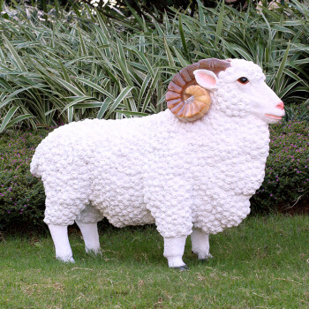金福喜 玻璃钢材质别墅花园林庭院子装饰户外羊雕塑摆设仿真动物绵羊