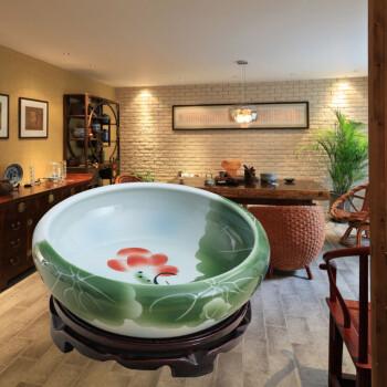 景德镇陶瓷养鱼盆水仙花盆手绘多肉植物瓷盆金鱼缸乌龟缸碗莲盆 小号