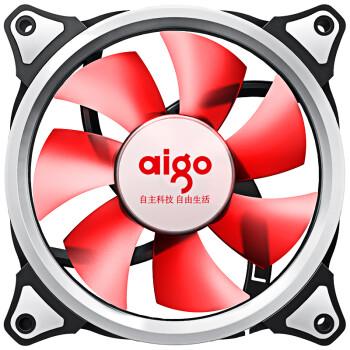 爱国者(aigo) 极光 12CM红光 电脑机箱风扇(小3P+大4P双接口/水冷排散热/减震脚垫/赠4螺丝)