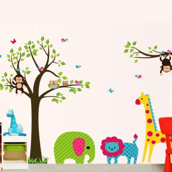 diy可移除墙贴教室布置卧室儿童房可爱卡通装饰墙贴纸墙壁贴墙画-动物