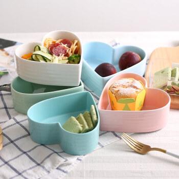 莜米特 心形碗爱心陶瓷碗蒸蛋碗糖果色甜品沙拉碗可爱蛋糕点心碗烤箱