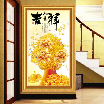 如意發財樹鉆石畫十字繡新款客廳招財進寶鉆石繡滿鉆聚寶盆元寶風景畫