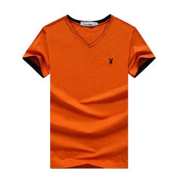 花花公子 PLAYBOY T恤 男士时尚纯色短袖休闲V领t恤 17001PL1916 桔色 XL