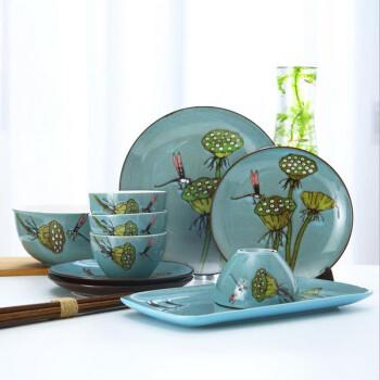 蜻莲说夏 西式手绘陶瓷餐具套装创意瓷器杯碗盘家用简约个性 6人套装