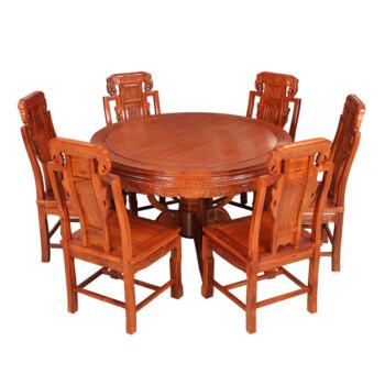 东作云红木圆餐桌 花梨木圆桌 中式仿古圆台 实木雕花