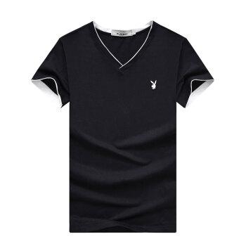 花花公子 PLAYBOY T恤 男士时尚纯色短袖休闲V领t恤 17001PL1916 黑色 3XL