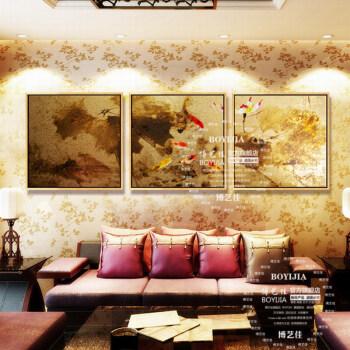 博艺佳 新中式金箔画纯手绘油画客厅卧室书房装饰画三联背景墙画 金箔