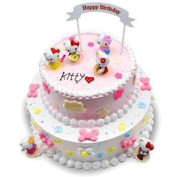 儿童生日蛋糕同城配送创意卡通宝宝周岁满月百天个性双层订制北京上海