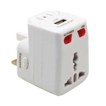 加加林 JAJALIN 全球通转换插座 JA012 USB充电器 万能转换插头 出国旅游旅行电源转换器 白色
