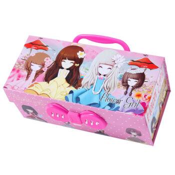 斯图 创意精美花花姑娘四层密码文具盒儿童女生多功能图片