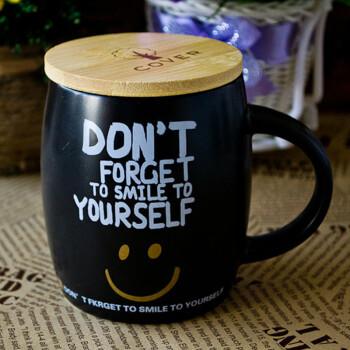 沐和创意小清新风陶瓷杯哑光黑白情侣早餐牛奶咖啡水杯子带盖酒桶办公