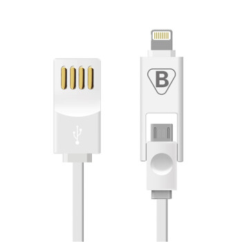 BIAZE 苹果Lightning/Micro二合一数据线 电源线K1版 iPhone5s/6/Plus iPad Air mini2/3 三星 小米 白色