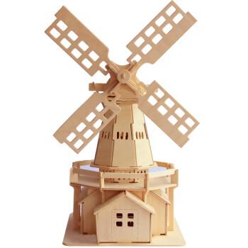 拼图diy木质建筑拼装模型手工儿童青年拼装智力积木木制玩具 荷兰风车