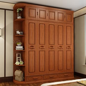 佐牧 实木衣柜 整体大衣橱 橡胶木衣柜三 四五 六门组合现代中式 胡桃