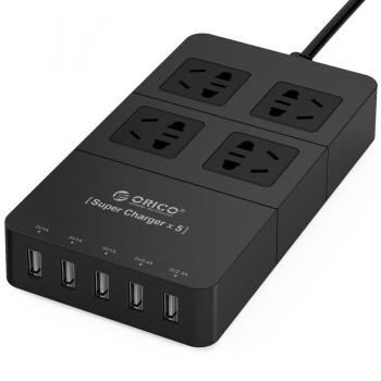奥睿科(ORICO)HPC-4A5U 智能5口USB数码充电器 4位插座/插排/插线板/接线板 1.5米 黑色