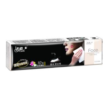 洁柔(C&S)Face系列百花香味迷你型纸手帕4层8张10包(新旧包装随机发货)